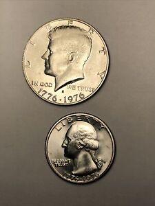 Half und Quarter Dollar, Kennedy u. Washington, Prägung 1976 200-Jahr-Jubiläum