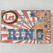 "Retro Distressed ""Let Freedom Ring"" Wooden Mantle 4th of July Sign Wall Hanging"