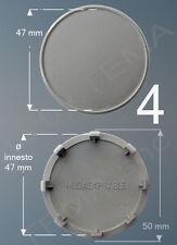 4 Borchie coprimozzo grigio Ø 50 mm innesto 47 non originali x cerchi lega