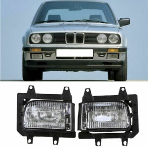 1 Pair Front Bumper Fog Lights Lamp Housings Clear Lens For BMW E30 82-91