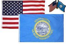 Wholesale Combo Usa & South Dakota State 3x5 3'x5' Flag & Friendship Lapel Pin