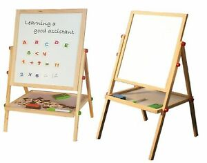 Childrens Black Board & Magnetic White Board Double Sided Wooden Easel (100cm) R