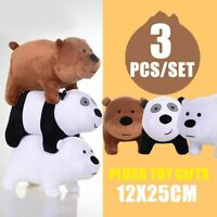3PC/Set We Bare Bears Panda Plush Doll Stuffed Grizzly Toy Kid Christmas Gift