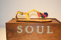 Moda in Pelle Yellow Sandal with multiple colour tassel.//  SALE was £79