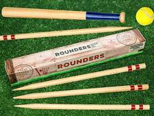 New Traditional Family Garden Games Wooden Rounders - Bat Ball Posts Carry Bag