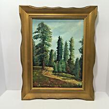 Vintage Framed Trees Nature Scene Landscape Oil Painting on Canvas Panel 12x16