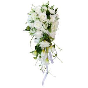 Wedding Bride Bridal Waterfall Hand Bouquet Artificial Hand Rose Flower