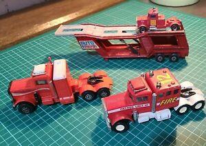 1976 - 1978 Matchbox Super King  Truck Cabs & Transporter trailer