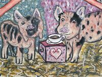 Kune Kune Pig Drinking Coffee Art Print 8 x 10 Farm Collectible Vintage Style