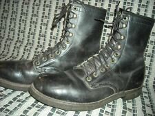 VTG 60S MENS 8.5 HERMAN BLACK LACE STEEL TOE CORK SOLE WORK BOOTS