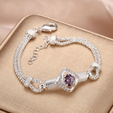 Womens 925 Sterling Silver Prong Set Purple CZ Crystal Chain Bracelet #B422