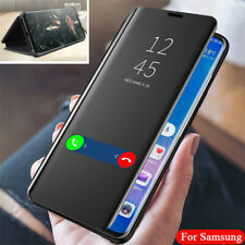 For Samsung S21 S20 FE S10Plus Note 20 Ultra Flip Leather Mirror View Case Cover