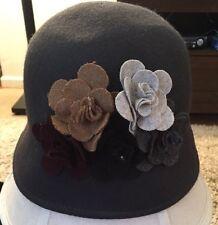 Gray 100% Wool Womens Bucket Hat W/ Flowers/Decorations
