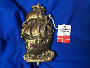 NOS HEAVY Danish Solid Brass Nautical Tall Ship SailingShip Door Knocker DENMARK