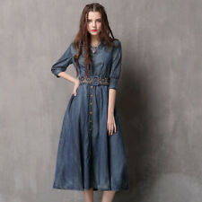 New Women's Girls Denim Dresses Midi Sleeve Jeans Casual Dress With Belt FL83