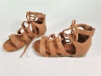 NEW Toddler Girl's Sandals Lace Up Gladiator Faded Glory Ghillie Cognac Tan