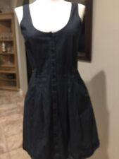 Theory Blue Denim Button Down Front Pocket Dress Sleeveless 4 EUC FR SHIP
