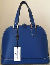 NWT Alberta DiCanio Italy Leather blue Bugatti bag purse satchel saffiano beige