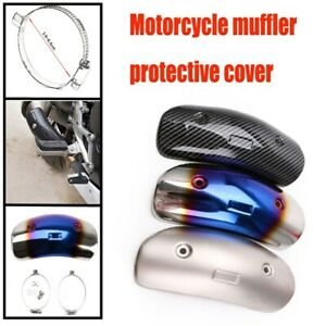 Bent Motorcycle Exhaust Pipe Protector Heat Shield Cover Guard Stainless steel