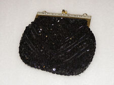 SMALL BLACK  BEADED CLUTCH  BAG
