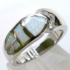 LOVELY LIGHT GREEN FIRE OPAL 925 STERLING SILVER RING SIZE 6
