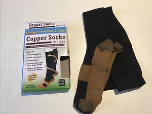 Unisex Copper socks Anti-fatigue Compression Socks Black Size 8 9 10 11 12