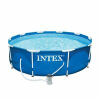 Intex 10ft x 30in Metal Frame Above Ground Swimming Pool Set with Filter Pump