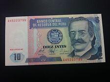 PERU BANCONOTA - DIEZ INTIS - BANCO CENTRAL DE RESERVA DEL PERU - UNC !!