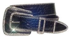 Women Western Rhinestone Black Croco Leather Belt L ML