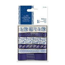 Satin Ribbon Patterned 1m Capsule Parisienne Blue Collection Pack of 6 PMA367111