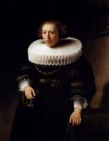 Stunning Oil painting Rembrandt Netherlands Portrait Of A woman in 17C on canvas