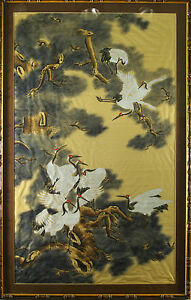 Beautiful large Chinese gouache painting on silk Pine & Cranes 20th century old