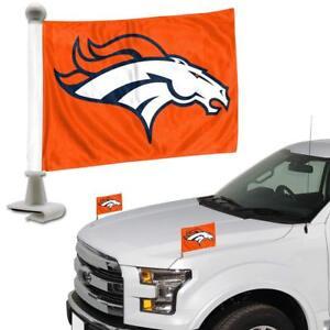 NFL Denver Broncos Ambassador Hood / Trunk Car Flag- Set of Two