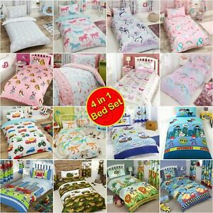 JUNIOR TODDLER DUVET BEDDING SET 4 IN 1 BOYS GIRLS - VARIOUS DESIGNS AVAILABLE