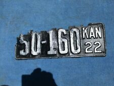 Vintage Original 1922 Kansas License Tag 50-160 Wall Hanger Man Cave Reissue