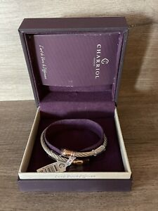 Charriol Bangle Celtic Bourse Silver / Rose Gold Cable Stacking New