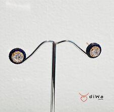 Orecchini punto luce zircone bianco e contorno blu argento rosè