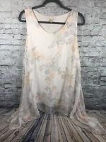 Prontomoda Giusy Womens Size L Silk Sleeveless Swing ShirtTop Italy Floral Print