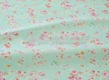 Green Medium Floral Rose Cotton Bed Sheeting Homeware Craft Shabby Chic Fabric