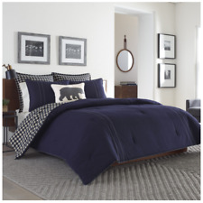 Eddie Bauer Kingston Navy Blue Flannel 3pc Comforter Plaid Set Full/Queen