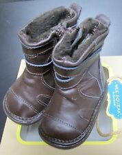 NEW WEE SQUEAK BOYS BROWN LEATHER SQUEAKY BOOTS BABY SZ 3