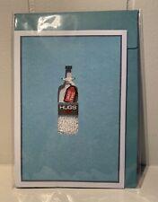 GET WELL SOON GREETING CARD HUGS BOTTLE BEAD PILLS DESIGN BLUE ENVELOPE NIP