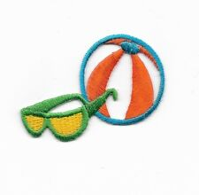 Beachball & Sunglasses Embroidered Iron On Patch 150860