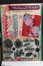 14 Stamps and 2 Die Set Botanical Border Flowers Leaves Leaf Petal Cutter Metal