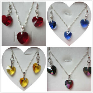 Birthstone Silver Plated Faceted Glass Heart Necklace Sets 15 Colours - Free Box