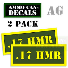 17 HMR Ammo Can Box Decal Sticker Set bullet ARMY Gun safety Hunting 2 pack AG
