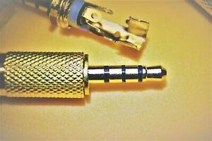 Klinkenstecker 4-polig  3,5mm stereo+Mic, Lötversion goldfarben,  Audio