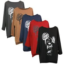 New Ladies printed Top Ladies Casual T-Shirt Blouse Minnie Mouse Long Sleeves