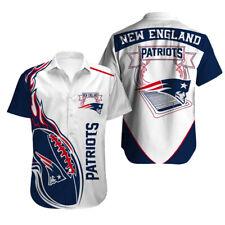 New England Patriots Football Shirt Summer Casual Button Down Shirt Short Sleeve