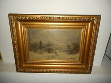 Antique oil painting,{ Winterlandscape with a church, is signed, great frame! }.